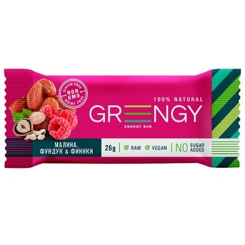 Greengy Dates, Raspberries and Hazelnuts Bar 26g