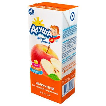 Agusha For Babies From 4 Months Sugar-Free Apple Juice 200ml - buy, prices for CityMarket - photo 1