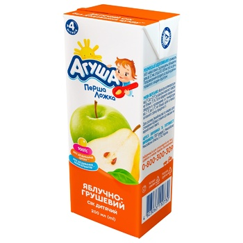 Agusha For Children From 4 Month Apple-Pear Juice 200ml - buy, prices for CityMarket - photo 1
