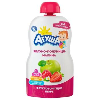 Пюре дитяче Агуша яблуко-полуниця-малина 90г - купити, ціни на ЕКО Маркет - фото 1