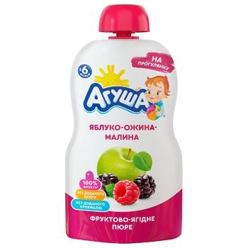 Пюре детское Агуша яблоко-ежевика-малина 90г - купить, цены на Ашан - фото 1