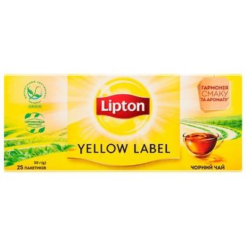 Чай чорний Lipton Yellow Label байховий  25*2г