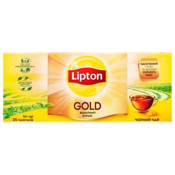 Чай черный Lipton Gold 25шт*2г - купить, цены на Ашан - фото 3