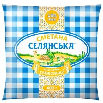 Сметана Селянська 15% 400г - купить, цены на Ашан - фото 1