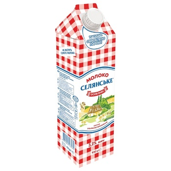 Молоко Селянське Особое ультрапастеризованное 3,2% 950г