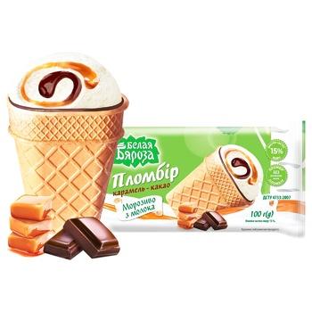 Морозиво Белая Бяроза Пломбір карамель-какао 90г - купити, ціни на CітіМаркет - фото 1