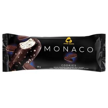 Мороженое Три Медведя Monaco Cookies Печенье-шоколад в глазури на палочке 80г