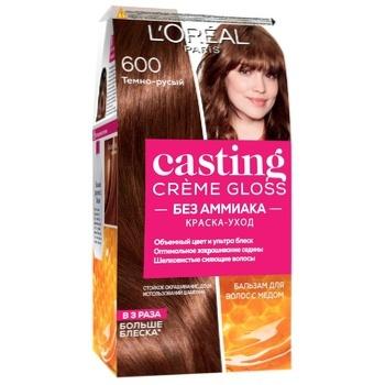 Краска-уход для волос L'Oreal Paris Casting Creme Gloss 600 Темно-русый без аммиака - купить, цены на Ашан - фото 1