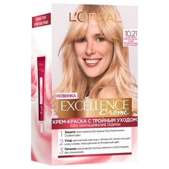 Крем-краска для волос L'Oreal Paris Excellence светло светло-русый перламутровый осветляющий №10.21 - купить, цены на СитиМаркет - фото 1