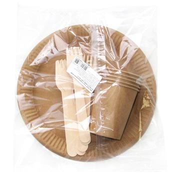 Набор Инпак крафтовая одноразовая посуда на 5 персон