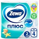 Туалетная бумага Zewa Плюс свежесть океана 2 слоя 4шт