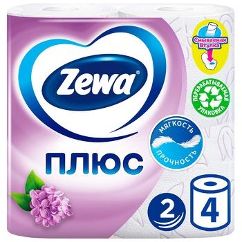 Папiр туалетний Zewa Плюс аромат бузку двошаровий 4шт