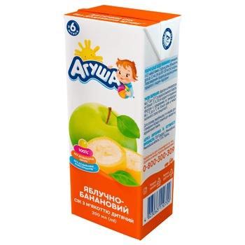 Сок Агуша яблочно-банановый с мякотью для детей с 6 месяцев 200мл - купить, цены на Ашан - фото 1