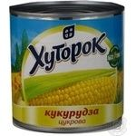 Vegetables corn Khutorok canned 340g can Ukraine