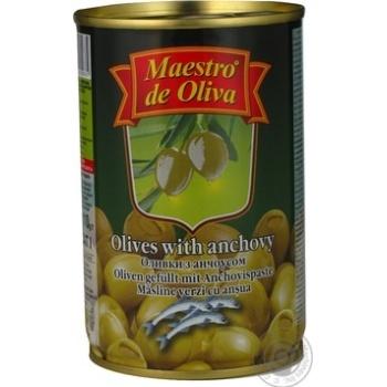 Оливки зеленые Maestro de Oliva с анчоусом 300мл