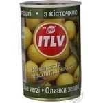Оливки ITLV зеленые с косточкой 314м