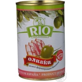 Оливки зелені Rio фаршировані Бекон залізна банка 300мл