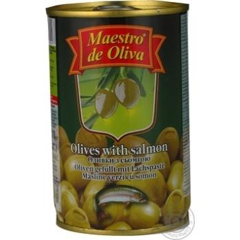 Оливки зелені Maestro de Oliva із сьомгою 300г