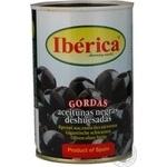 Маслины Иберика крупные черные без косточки 420г