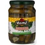 Vegetables cucumber cornichon Hame pickled 680g glass jar Czech republic