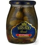 Vegetables cucumber Mikado pickled 720ml glass jar Ukraine