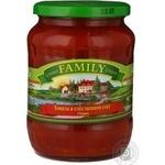 Vegetables tomato Family in own juice 720ml glass jar Ukraine