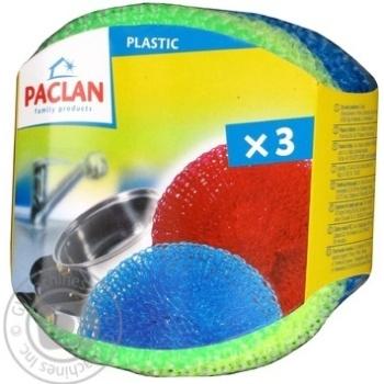 Мочалки Паклан пластикові 3шт