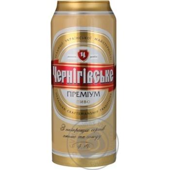 Пиво Черниговское Премиум светлое пастеризованное железная банка 4.8%об. 500мл Украина