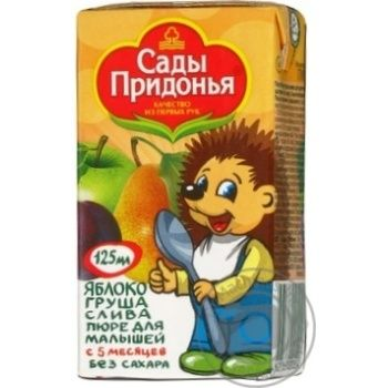 Puree Sady Pridonia Apple-Pear-Plum without sugar for 5+ month old babies tetra pak 125ml Russia