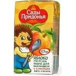 Puree Sady Pridonia Apple-Peach without sugar for 5+ month old babies tetra pak 125ml Russia