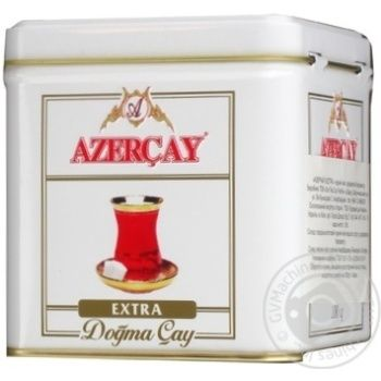 Черный чай Азерчай Экстра байховый среднелистовой с ароматом бергамота 100г железная банка Азербайджан