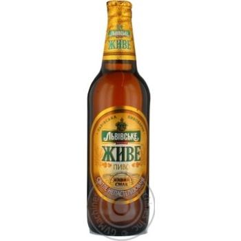 Пиво Львовское Живое светлое непастеризованное стеклянная бутылка 4.8%об. 500мл Украина