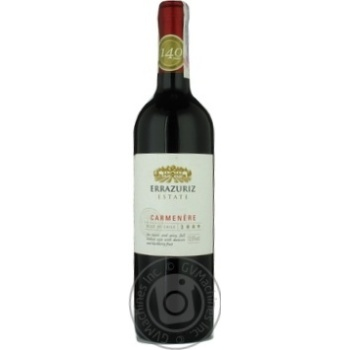 Wine carmener Errazuriz red dry 13.5% 2009year 750ml glass bottle Aconcagua valley Chili