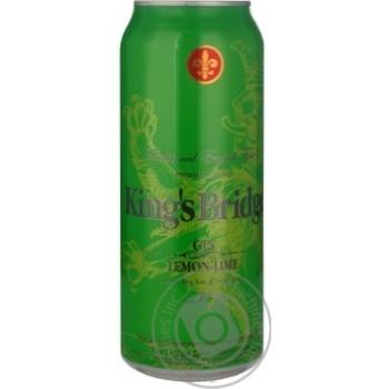 Напій слабоалкогольний King's Bridge Gin&Lemon-Lime 9% 0,5л з/б
