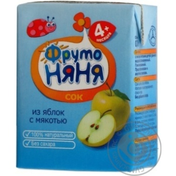 Homogenized reconstituted sugar-free juice with pulp Fruto Nyanya apple for children from 4+ months tetra pak 200ml Russia