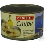 Fish saury Seleste in oil 240g can Russia