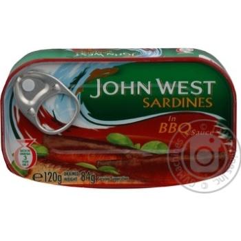 Рыба сардина Джон вест Барбекю консервированная 120г железная банка Португалия