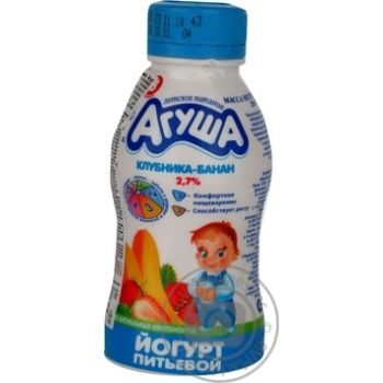 Йогурт детский Агуша Клубника-Банан с 8 месяцев 2.7% пластиковая бутылка 200г