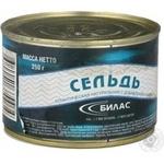 Рыба сельдь Билас консервированная 250г железная банка Россия
