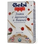 Dry instant milk porridge Bebi Premium Cereals with raspberries and cherries enriched with vitamins and minerals for 6+ month old babies 5-6 portions 200g