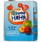 Homogenized nectar with pulp Frutonyanya apple and plum for children from 5+ months tetra pak 200ml Russia