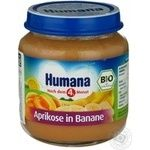 Baby puree Humana Apricot-banana for 6+ month old babies glass jar 125g Germany