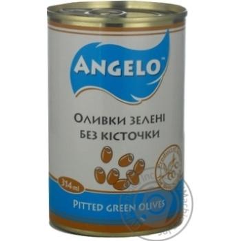 Оливки зелені без кісточки Angelo залізна банка 314г