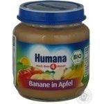 Baby puree Humana Apple-banana for 6+ month old babies glass jar 125g Germany
