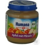 Baby puree Humana Apple-peach for 6+ month old babies glass jar 125g Germany
