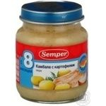 Puree Semper flounder with potatoes for 8+ months babies glass bottle 200g Sweden