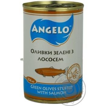 Оливки зелені з лососем Angelo залізна банка 314г