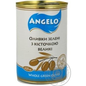 Оливки зелені з кісточкою Angelo залізна банка 425г