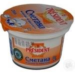 Сметана 25% President 200г