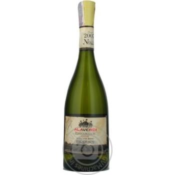 Вино біле Алаверді Цинандалі Елітне натуральне виноградне сухе 12% скляна пляшка 750мл Грузія